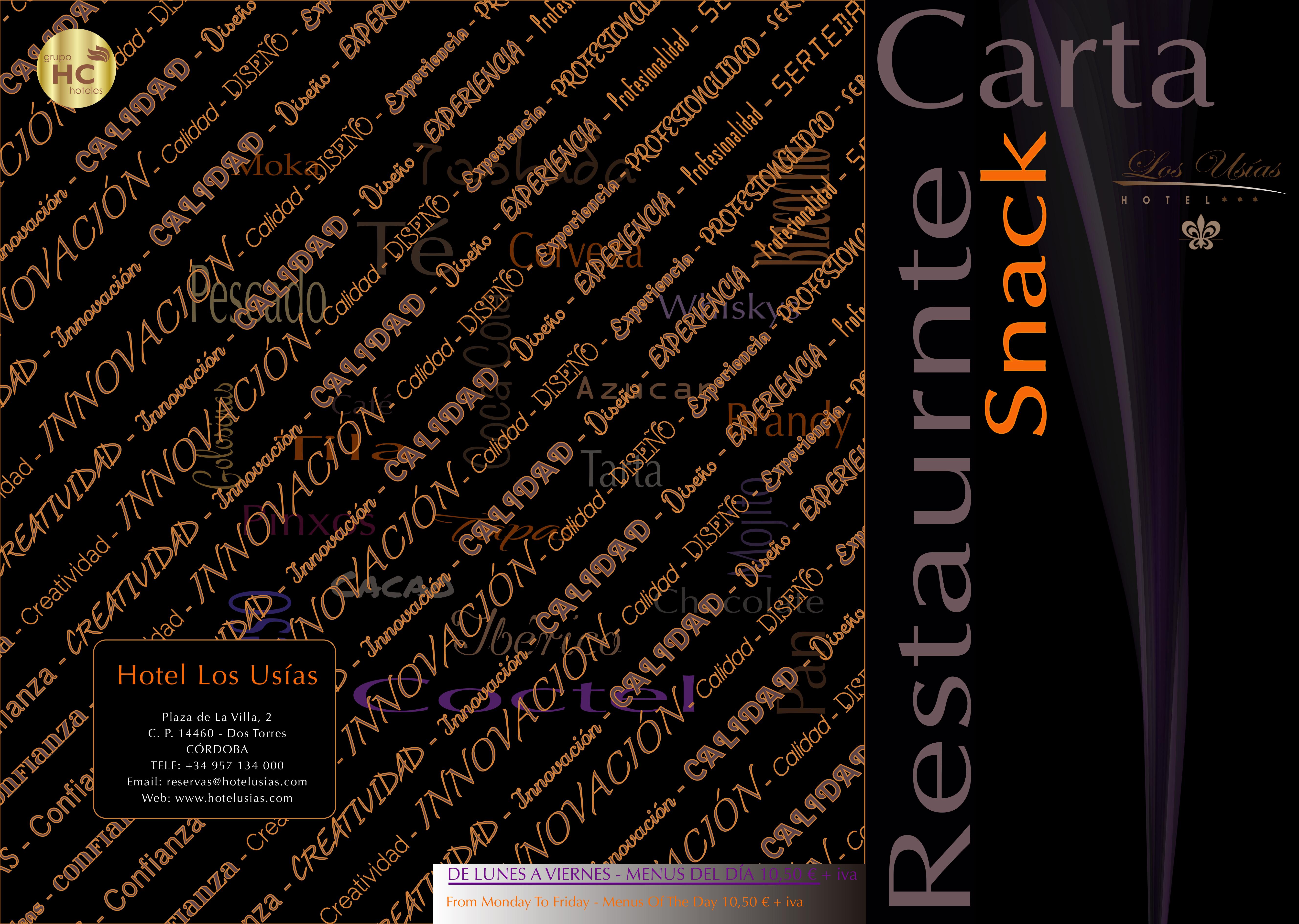 Carta Restaurante La Brassería Hotel Los Usías Dos Torres